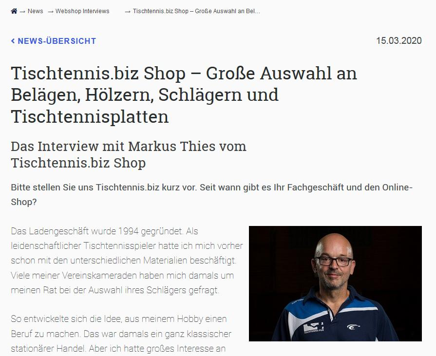 Markus Thies im Interview als Tischtennisexperte